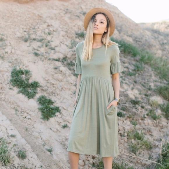 541871aedd1e ashley lemieux Dresses | Sage Green Bell Sleeve Midi Dress | Poshmark